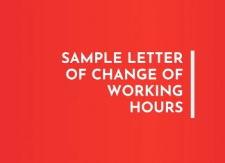 Letter of Change of Working Hours
