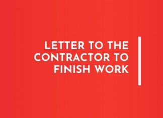 Letters to Contractor to finish work