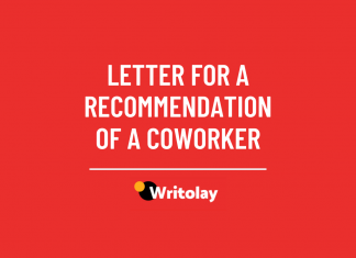 Letter for a recommendation of a coworker