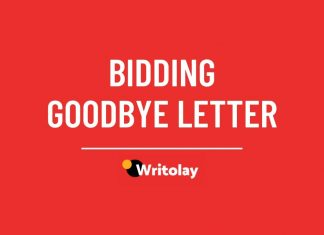 Bidding Goodbye letter