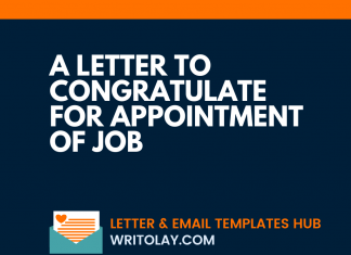 A Letter To Congratulate For Appointment Of Job
