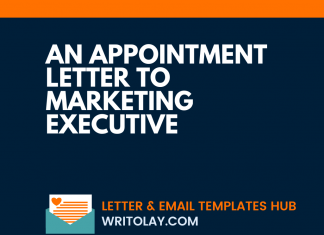 An Appointment letter to Marketing Executive