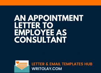 An Appointment Letter To Employee As Consultant