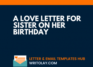 A Love Letter For Sister On Her Birthday