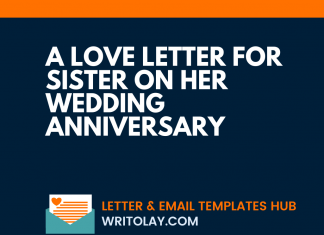 A Love Letter For Sister On Her Wedding Anniversary