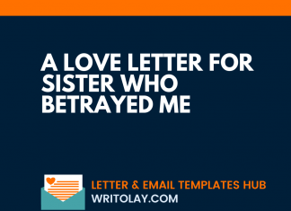 A Love Letter For Sister Who Betrayed Me