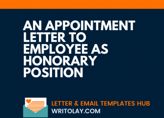An Appointment Letter To Employee As Honorary Position