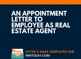 An Appointment Letter To Employee As Real Estate Agent