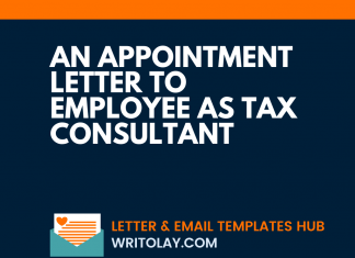 An Appointment Letter To Employee As Tax Consultant