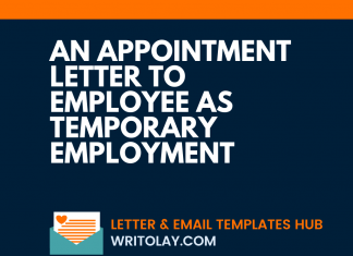 An Appointment Letter To Employee As Temporary Employment
