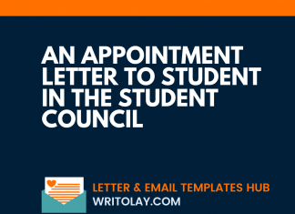 An Appointment Letter To Student In The Student Council