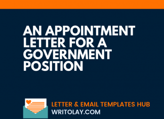 An Appointment Letter For A Government Position