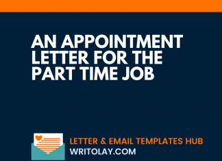 An Appointment Letter for The Part Time Job