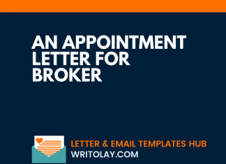 An Appointment Letter For Broker